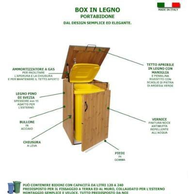 Box Portabidoni in legno 74x86xh116 cm con tetto ROSSO