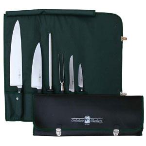 Set 5 coltelli+acciaino in borsello