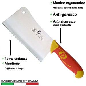 Falcetta lama inox 18 cm Manici in polipropilene gomma antiscivolo atossici. trattamento germicida. adatto lavastoviglie