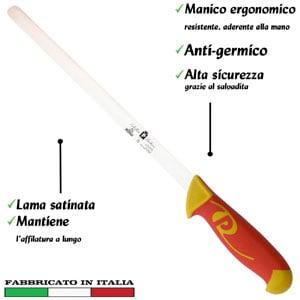Coltello per prosciutto 30 cm Manici in polipropilene gomma antiscivolo atossici. trattamento germicida. adatto lavastoviglie
