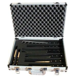 Valigia in alluminio con 8 coltelli