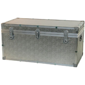 Baule contenitore portabiancheria in legno pressato 80x47xh46 - 158 lt cm in Alluminio Easy