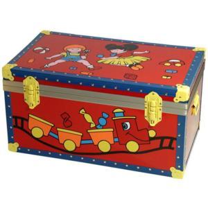 Baule in legno pressato serigrafato Bimbo Treno Serigrafato 75x44xh40 cm - 75Litri Rosso