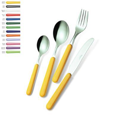 Set Posate Colorate 4 pezzi BONITA 1 Coltello 1 Forchetta 1 Cucchiaio 1 Cucchiaino caffè in acciaio 18C