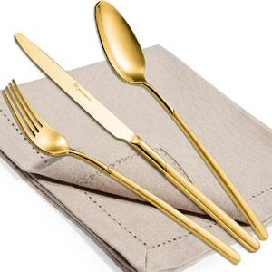 Servizio Posate CELTIKA TIN GOLD 24 pezzi acciaio inox 1810 lucidato Finitura Oro spessore 5 mm in astuccio regalo EME
