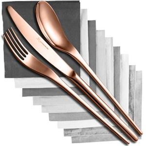 Servizio Posate JOLI COPPER BRONZE 24 pezzi acciaio inox 1810 Finitura Bronzo spessore 4.0 mm in astuccio regalo EME