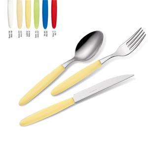 Set Posate colorate 4 pezzi LIGHT 1 Coltello 1 Forchetta 1 Cucchiaio 1 Cucchiano caffe in acciaio