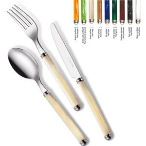 Set Posate colorate 4 pezzi un posto tavola LINEA PERLATO 1 Coltello 1 Forchetta 1 Cucchiaio 1 Cucchiaino caffe in acciaio 1810