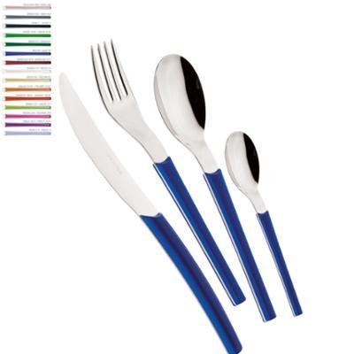 Servizio Posate Colorate Set 24 pezzi LOTO in acciaio 18/10 manico METACRILATO E ABS coltello a sciabola lavabili in lavastoviglie