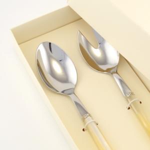 Confezione due pezzi per Insalata PERLATO composizione Cucchiaio e Cucchiaio insalata in confezione