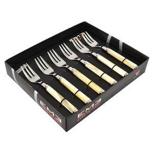 Confezione 6 Pezzi Forchettine dolce PERLATO in acciaio inox 1810 composizione 6 forchettine in scatola