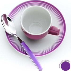 Set da Caffe CROMOTERAPIA SPIRITO in New Bone China lavabile in lavastoviglie 3 pezzi: 1 Tazzina. 1 Piattino. 1 cucchiaino