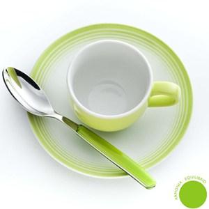 Set da Caffe CROMOTERAPIA ARMONIA in New Bone China lavabile in lavastoviglie 3 pezzi: 1 Tazzina. 1 Piattino. 1 cucchiaino