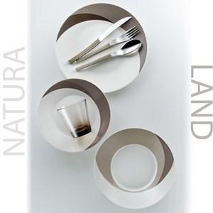 Posto Tavola NATURA LAND in New Bone China lavabile in lavastoviglie 7 pezzi