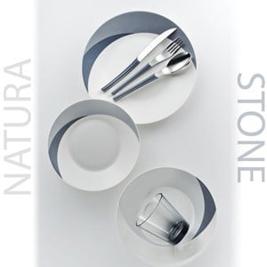 Posto Tavola NATURA STONE in New Bone China lavabile in lavastoviglie 7 pezzi