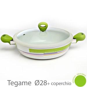 Tegame CROMOTERAPIA 2 Manici con coperchio rivestimento ceramico corpo in alluminio adatta allinduzione manico atermico diametro 28