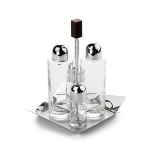 Menage Quadrato KENTO 18x18h21 in acciaio inox 1810 contenitori in vetro