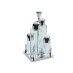 Olio Aceto Sale e Pepe quadrata EMY in acciaio lucido con ampolle in vetro
