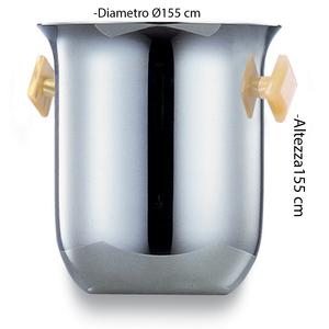 Secchiello Ghiaccio diametro Ø15,5xh15 cm SEVILLE Medio in acciaio inox Lucido manici colorati