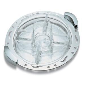 Antipastiera Tonda diametro 35 cm 5 scomparti in acciaio lucido manici cromati linea TRAFORATI