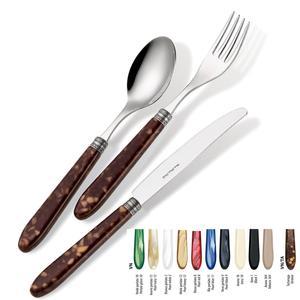 Set Posate colorate VENDOME TARTARUGA 1 Coltello 1 Forchetta 1 Cucchiaio 1 Cucchiano caffe in acciaio 1810