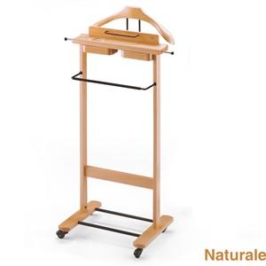 Indossatore appendiabiti con Portaoggetti in legno massiccio GALANT Naturale