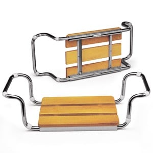 sedile per vasca da bagno estensibile struttura in acciaio sedile in faggio