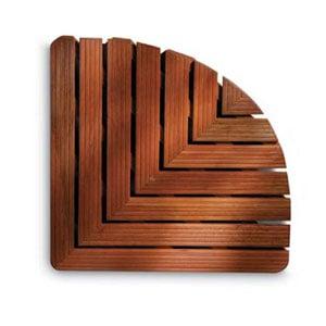 Pedana doccia forma angolare 64x64xh5 cm in legno dimensioni Legno Gombe con olio di Lino