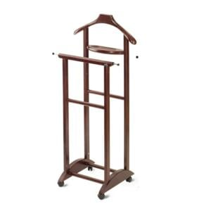 Indossatore Doppio Con Vaschetta portaoggetti in legno massiccio IVAN Wengè