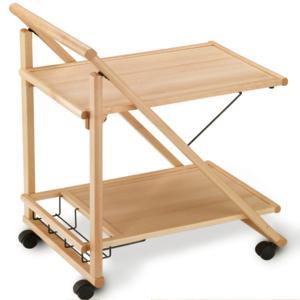 Carrello porta vivande a due ripiani struttura in legno Naturale PLIO