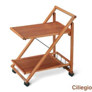 Carrello porta vivande PLIO a due ripiani struttura in legno Massello Cherry