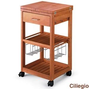 Carrello porta vivande in legno massiccio con tagliere PANTAGRUEL Ciliegio