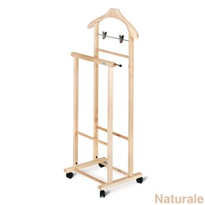 Indossatore in legno con pinze per gonna. porta-cravatte. montato su ruote DOUBLE Naturale