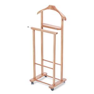 Indossatore Doppio Con Vaschetta portaoggetti aperta in legno massiccio IVAN legno chiaro