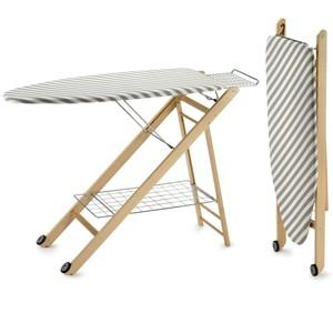 Tavola da stiro regolabile in tre altezze realizzata in legno il telaio COMPACSTIR Naturale Naturale