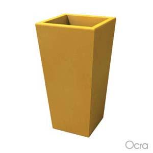Portavaso EGIZIO liscio 32x22xh55 cm per esternointerno in polietilene Ocra
