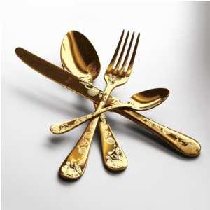 Servizio 75 pezzi Vintage Oro in Acciaio Inossidabile, colore Oro Opaco, Lavorazione della supperficie con impiantazione di Titanio PVD