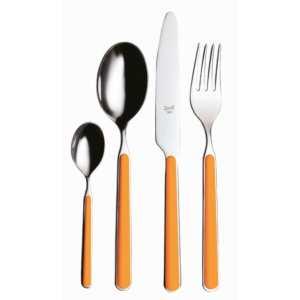 Servizio 42 pezzi fantasia arancio in Acciaio Inossidabile, colore Arancio, Lavabile in lavastoviglie