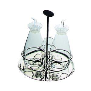 Oliera Base Rotonda GRAND HOTEL 5 PZ 22X18,6xh22 cm in acciaio lucido con ampolle in vetro 30 cl e tappo salva goccia