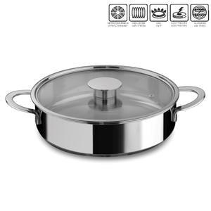 Tegame 2 manici 26 cm acciaio inox 18/10 con coperchio in vetro pyrex linea Gourmet Mepra, per piano elettrico, induzione, gas, alogeno, vetroceramica , forno