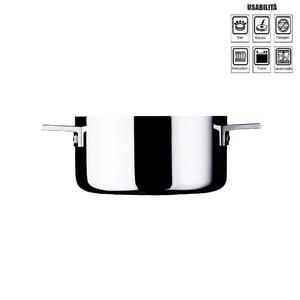 Casseruola due manici ATTIVA diametro cm 24- 5,0 Lt per induzione in acciaio 18.10 Lucido + coperchio incluso
