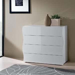 Cassettiera, Comò 98x40xh82 cm ONDA 4 cassetti laccata bianco lucido altezza 98 cm