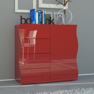 Mobile Onda 4 cassetti 1 Anta 90x40xh81,2 cm Rosso Lucido Laccato