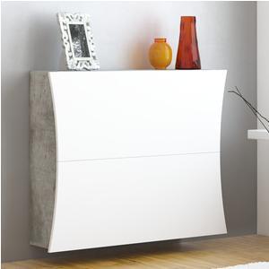 Scarpiera due ante in Kit di Montaggio, linea Arco 98x40xh82 cm laccata bianco lucido altezza 82 cm