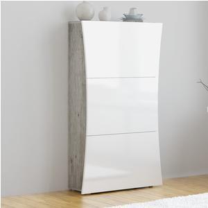 Scarpiera 3 ante 71x27xh122 cm bianco Laccato ARCO con fianchi cemento contiene 18 paia in Kit di Montaggio