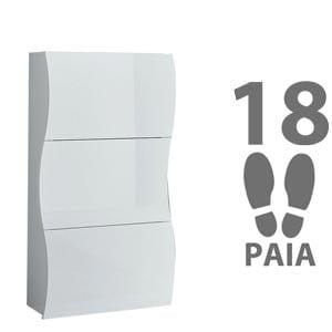 Scarpiera 3 ante 71x27xh122 cm bianco Laccato ONDA contiene 18 paia in Kit di Montaggio