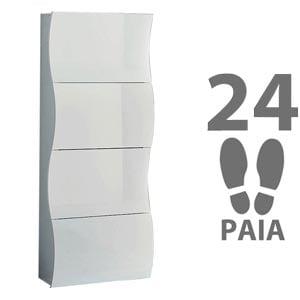 Scarpiera 4 ante 71x28xh162 cm in legno bianco laccato ONDA 24 paia in Kit di Montaggio