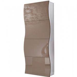 Scarpiera 4 ante 71x28xh162 cm in legno Cappuccino Lucido ONDA 24 paia in Kit di Montaggio