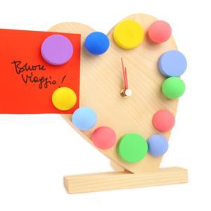 Orologio a Pois Cuore da Tavolo in legno 19x12xh23 cm memo con ore magnetiche colore Legno naturale