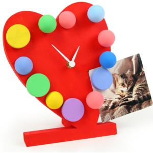 Orologio a Pois Cuore da Tavolo in legno 19x12xh23 cm memo con ore magnetiche colore rosso